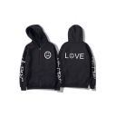 Street Style Letter LIL PEEP LOVE Sad Face Print Casual Zip Up Hoodie for Guys