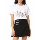 Craft Graffiti Cartoon Character Letter WINTOUR DE FRANCE Printed Short Sleeve Round Neck White Tee