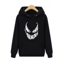Men's New Stylish Unique Letter Venom Mouth Printed Regular Fitted Hoodie