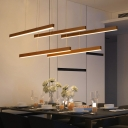 Straight Bar Hanging Light Simplicity Metal Multi Light Suspended Light in Brown