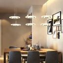 Simple Concise Disc Hanging Lamp Acrylic 6 Light Luminaire Lighting for Coffee Shop