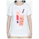 Cotton Short Sleeve Round Neck Letter MILK AND HONEY Heart Printed White Stylish Fitted Tee