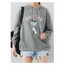 Cute Cartoon Cat Letter CASUAL Printed Long Sleeve Regular Fitted Drawstring Hoodie