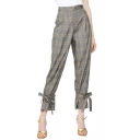 Fashion Classic Grey Plaid Printed Chic Bow-Tied Cuff Tapered Capris Pants