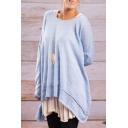 Hot Popular Simple Plain Round Neck Long Sleeve Loose Fit Asymmetrical Hem T-Shirt