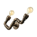 Antique Bronze 2 Light LED Wall Sconce in Pipe Shape