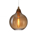 Amber Glass Gourd Suspension Light Contemporary Single Light Drop Ceiling Lighting