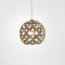 Crystal Blossom Hanging Lamp Contemporary Single Light Drop Light in Silver for Bedroom