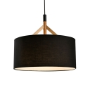 Black Drum Drop Ceiling Lighting Concise Modern Fabric Single Light Pendant Light