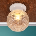 1 Head Orb Flush Mount Lighting Contemporary Textured Glass Ceiling Light in White