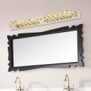 Crystal Vanity Light Contemporary Stainless Wall Mount Fixture in Champagne for Bathroom