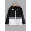 Stylish Colorblock Long Sleeve Loose Casual Sports Zip Up Drawstring Hooded Coat