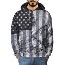 Men's Cool Star Striped Flag Printed Casual Loose Fit Black Hoodie
