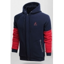 Men's Comfort Fashion Letter SPORTS Logo Chest Colorblock Long Sleeve Zip Pocket Fitted Zip Hoodie