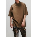 Men's Half-Sleeved Crew Neck Retro Plain Loose Oversized T-Shirt