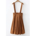 Retro Khaki Corduroy Simple Plain Midi A-Line Pleated Overall Skirt for Students