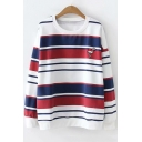 Round Neck Long Sleeve Striped Print Crane Embroidered Chest Loose Pullover Sweatshirt