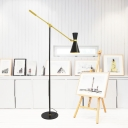 Adjustable Arm Floor Light Post Modern Metal Single Light Floor Lamp in Black for Study Room