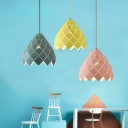 Dome Shape Pendant Lamp Macaron Modern Design Steel 1 Head Suspension Light for Kids