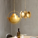Antique Brass/Brass/Gold Finish Metal Ring Drop Light Modernism Iron Single Light Hanging Light for Living Room