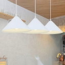 White Finish Cone Pendant Lamp Minimalist Metal 1 Bulb Drop Ceiling Lighting for Kitchen
