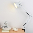 Adjustable 1 Bulb Dome Desk Lamp Modern Design Metallic Desk Lighting in White for Bedroom
