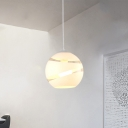 White Sphere Hanging Light Post Modern Glass Single Light LED Suspension Light for Bedroom