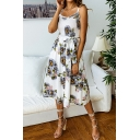 Chic Summer Sunflower Printed Ruffled Hem Bow-Tied Waist Button Front Midi A-Line Cami Dress