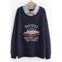 Fashion Letter Cake Printed Striped Patched Lapel Collar Long Sleeve Casual Loose Sweatshirt