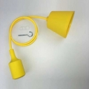 Industrial Pendant Light Exposed Vintage Edison Bulb Style Silicone 1 Light, Yellow