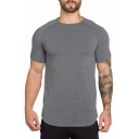 Basic Plain Short Sleeve Round Neck Summer Breathable Fitness T-Shirt for Men