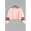 Chic Striped Print Long Sleeve Round Neck Loose Fit Cropped Pullover Sweatshirt