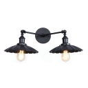 Shallow Round Shade Sconce Light Industrial Iron 2 Lights Lighting Fixture in Black Finish