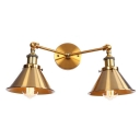 Vintage Conical Wall Mount Fixture Steel 2 Bulbs Wall Sconce in Brass Finish for Bedside