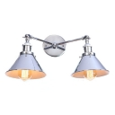 Chrome Finish Conical Wall Sconce Minimalist Metal 2 Lights Wall Lamp for Kitchen