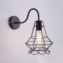 1 Head Wire Guard Wall Light with Gooseneck Industrial Iron Sconce Light in Black for Sitting Room