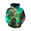 3D Green Galaxy Plant Printed Long Sleeve Loose Fit Pullover Hoodie