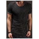 Retro Ripped Detail Basic Short Sleeve Solid Slim Fit T-Shirt for Men