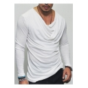 Men's New Stylish Draped Cowl Neck Long Sleeve Basic Plain T-Shirt