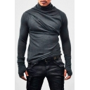 Gothic Men Basic Solid Heap Collar Super Long Sleeve with Gloves Streetwear T-Shirt