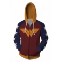 New Trendy 3D Comic Colorblock Long Sleeve Full Zip Burgundy Hoodie