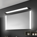 Black Straight Bar Mirror Light Modern Acrylic Cosmetic Vanity Light for Dressing Table