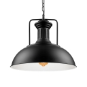 Vintage Pendant Light with 16.54''W Dome Metal Shade in Black