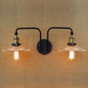 2 Heads Scalloped Sconce Light Industrial Metallic Wall Light Fixture in Aged Brass for Staircase