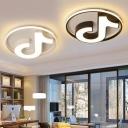 Acrylic Flush Ceiling Light with Musical Note Modern Black/White LED Ceiling Light for Living Room