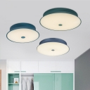 Metallic Tapered LED Flush Mount Modernism Macaron Sitting Room Ceiling Fixture in Blue/Green