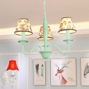 Fabric Shade Conical Hanging Light Rustic Style 3/6 Lights Hanging Chandelier in Green