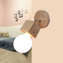 Rotatable 1 Head Open Bulb Sconce Light Modern Wooden Wall Light with Black/White/Wood Base