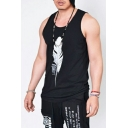 Simple Feather Printed Men's Summer Sleeveless Loose Casual Tank Top