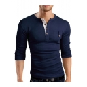 Men's Long Sleeve Pocket Patched Chest Solid Slim Fitted Henley Shirt